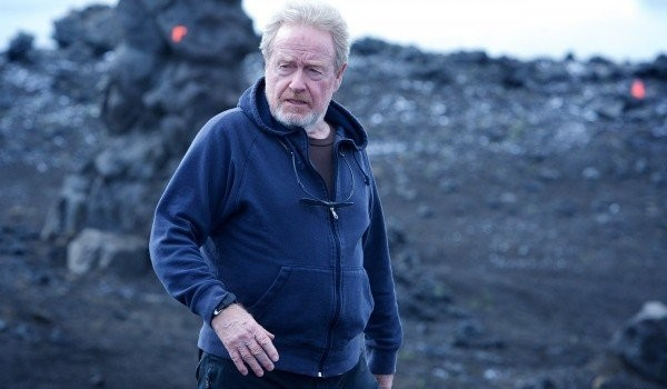 Ridley Scott sul set di Prometheus