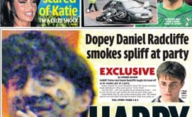 daily mirror front page harry pothead 410132389