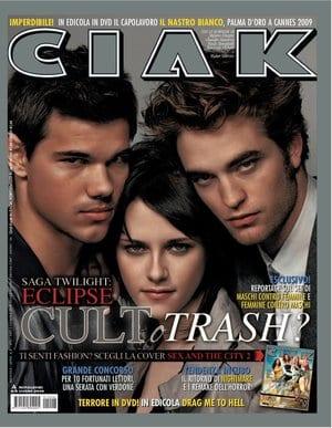 Taylor Lautner, Kristen Stewart, Robert Pattinson sulla copertina di CIak