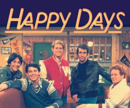 """Una delle locandine di """"Happy Days"""" con parte del cast."""