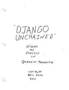 La prima paginas dello script di Django Unchained