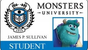 monsters university id card james p sullivan