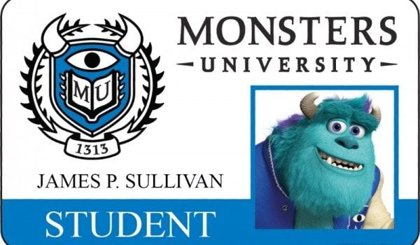 monsters university id card james p sullivan