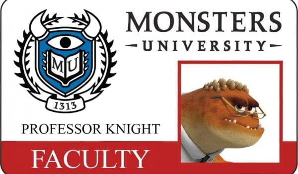 monsters university id card professor knight