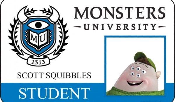 monsters university id card scott squibbles