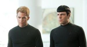 Chris Pine e Zachary Quinto in un'immagine di Into Darkness - Star Trek