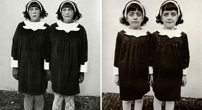 John Malkovich omaggio alle gemelle ritratte da Diane Arbus