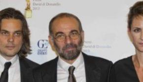 Il regista Giuseppe Tornatore tra i produttori Arturo Paglia e Isabella Cocuzza